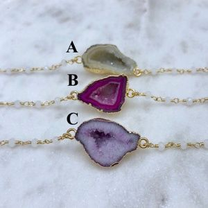 Jewelry - Petite Druzy Geode Chalcedony Gold Chain Necklace